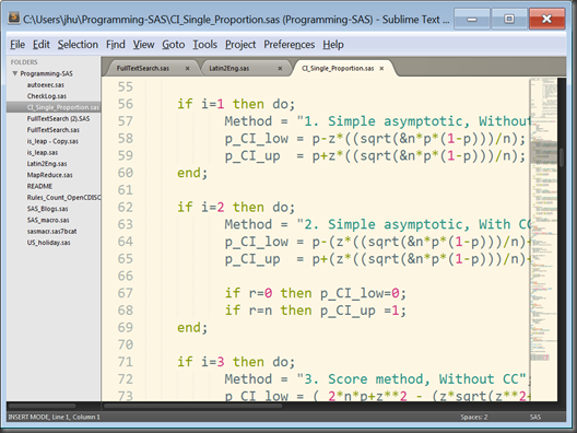Sublime Text 2 for SAS Programmers: A Quick Note